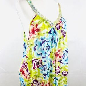 Free People Sequin Floral Tank Top Boho Size L